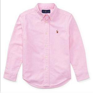 RALPH LAUREN pastel pink button down oxford shirt